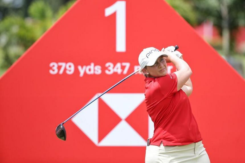 Angela Stanford teeing off on hole 1 during the HSBC Women's World Championship Round 1 at Tanjong Course in Sentosa on Feb 28, 2019.