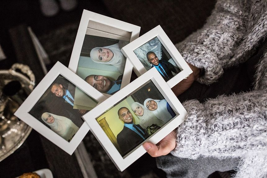 Fatiha, mother and mother-in-law of Bouchra Abouallal and Tatiana Wielandt, shows pictures of her son Noureddine Abouallal and her daughter-in-law Tatiana from when they got married in Belgium.
