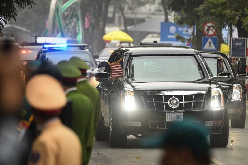 A motorcade transporting US President Donald Trump leaves Hanoi's Sofitel Legend Metropole hotel following the second US-North Korea summit on Feb 28, 2019.