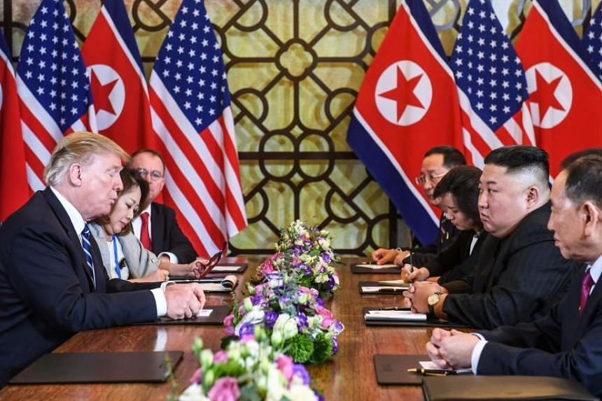 US President Donald Trump and North Korea leader Kim Jong Un had earlier planned to sign a joint agreement at 2pm on Feb 28, 2019, following a working lunch.
