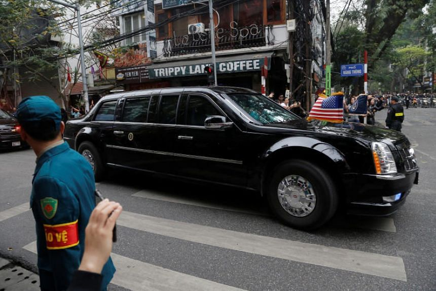US President Donald Trump's motorcade travels towards the Sofitel Legend Metropole Hanoi hotel for his summit with North Korean leader Kim Jong Un on Feb 28, 2019.