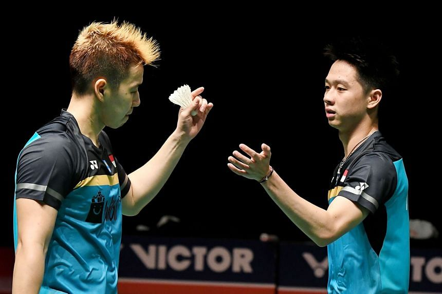 Marcus Gideon (left) and Kevin Sukamuljo will spearhead Indonesia's challenge in the men's doubles at the Singapore Open. The Indonesian contingent will also include Anthony Ginting and Jonatan Christie.