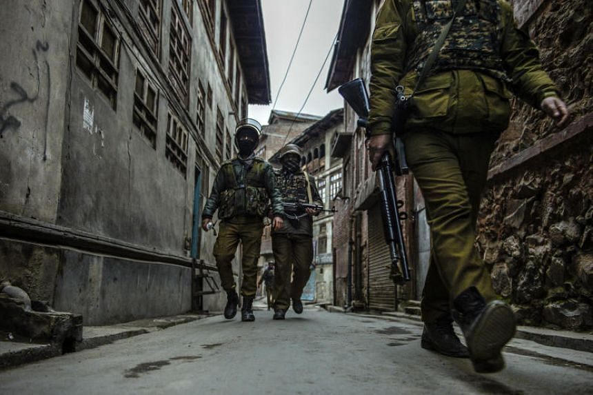 A police patrol in Srinagar, India, in the state of Kashmir.