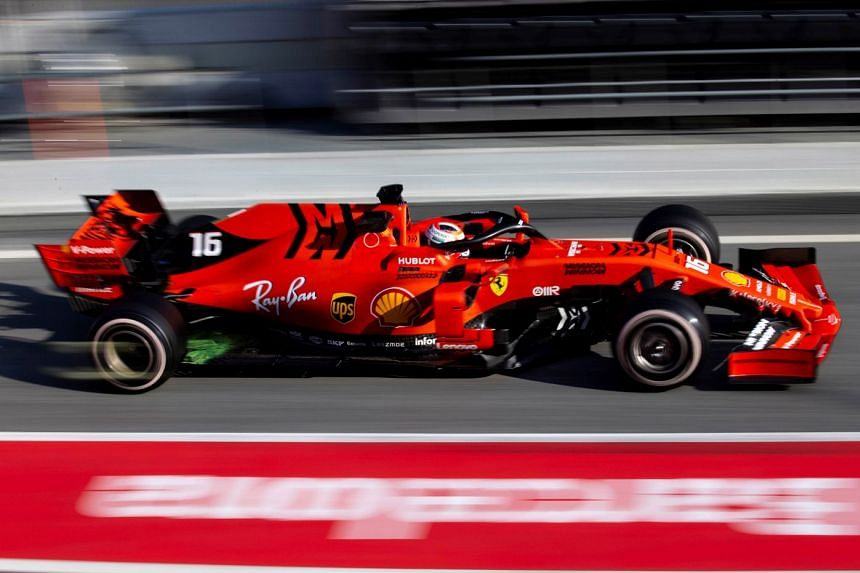 Leclerc in action during the official Formula One pre-season testing in Spain.