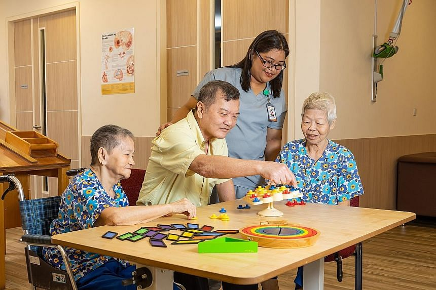 Orange Valley Nursing Homes' daycare programme for seniors at its Balestier centre is aimed at providing respite for caregivers and enabling the elderly to be more active socially.