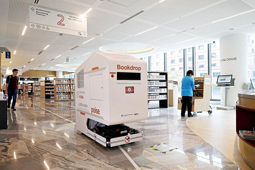 Technology is one way government agencies like the National Library Board have used to help cut costs. The NLB uses robots and automatic sorting machines to help staff and volunteers with shelving work. Library users can also check out books without