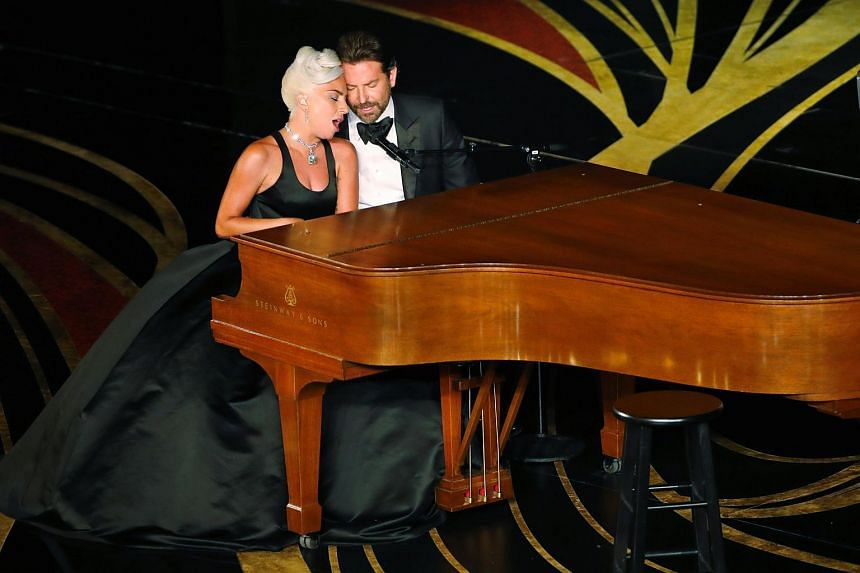 Lady Gaga and Bradley Cooper perform Shallow from A Star Is Born at the Oscars ceremony on Feb 24, 2019.