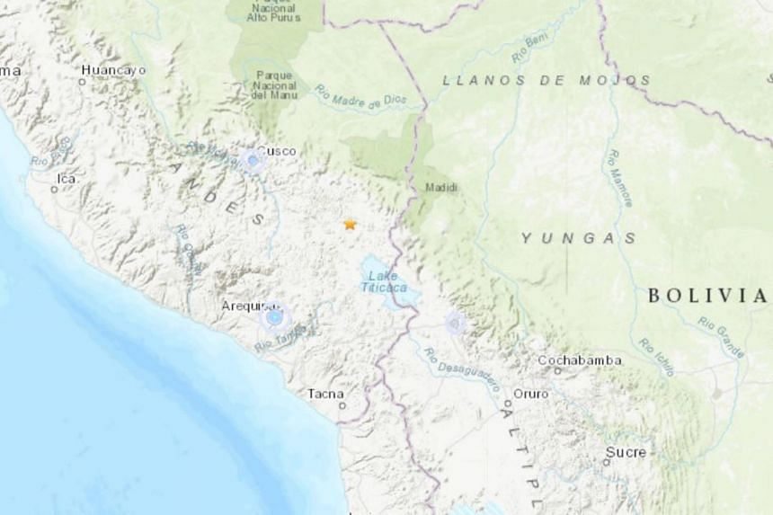 The quake hit at 0850 GMT about 27km north-east of the town of Azangaro, near the border with Bolivia.
