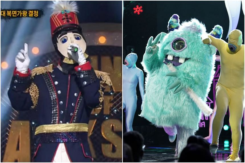 South Korean singer-songwriter Ha Hyun-woo (left) on the Korean version of the reality TV programme involving masked singers in 2016, and rapper T-Pain as a monster on the American version of the show, titled The Masked Singer.