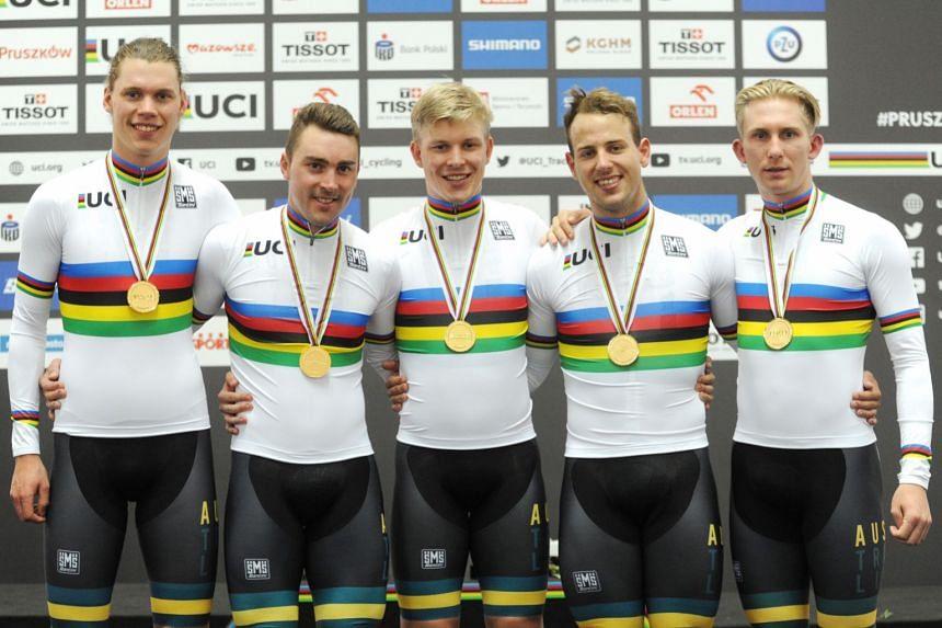 World champion team Samuel Welsford, Kellard O'Brien, Leigh Howard, Alexander Porter and Cameron Scott celebrate after winning the Men's Team Pursuit Final.