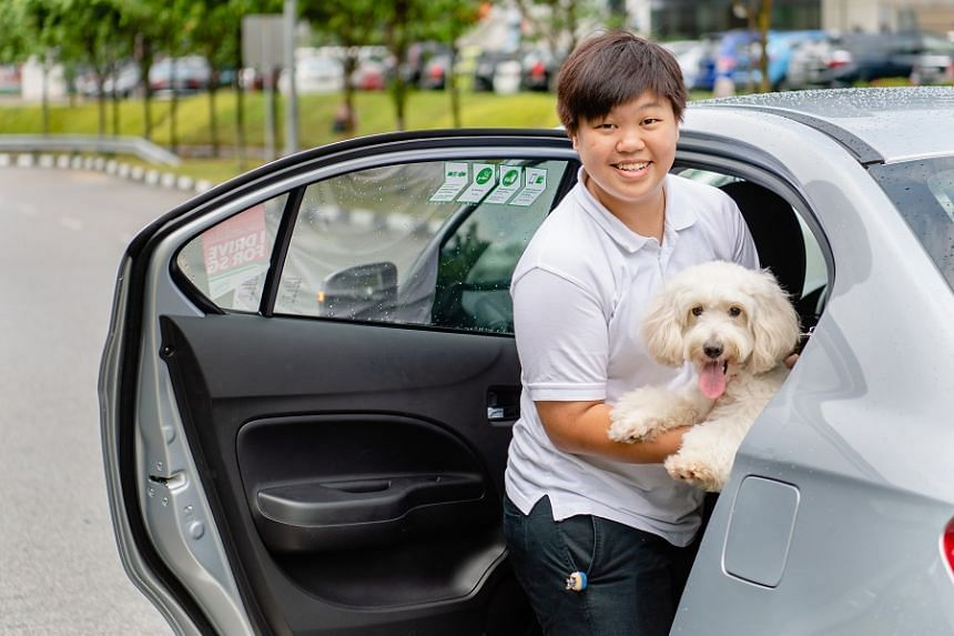 Driver-partner Valarie Yeo practises placing a pet in the back-seat cover. She signed up for GrabPet training as she wanted to support its new initiative for customers. PHOTO: TED CHEN
