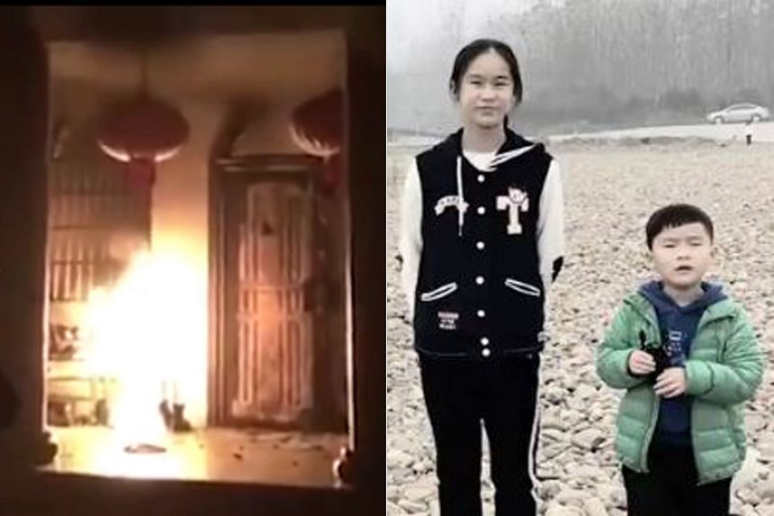 Chen Zimo and her brother were sleeping in the bedroom they shared when an early morning blaze tore through their home in Changde, China's Hunan province, on Feb 22, 2019.