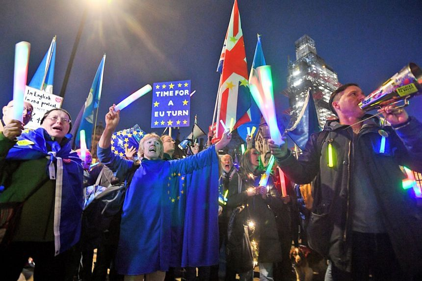 Anti-Brexit demonstrators outside Britain's Parliament in London on Wednesday.