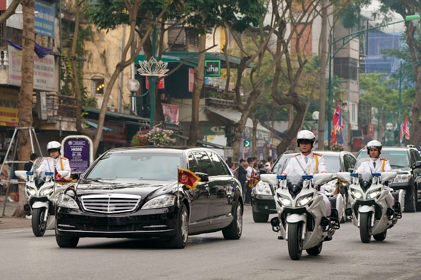 Mr Kim's motorcade on its way back to his hotel after the North Korean leader's meeting with Mr Trump ended ahead of schedule yesterday without any joint announcements.