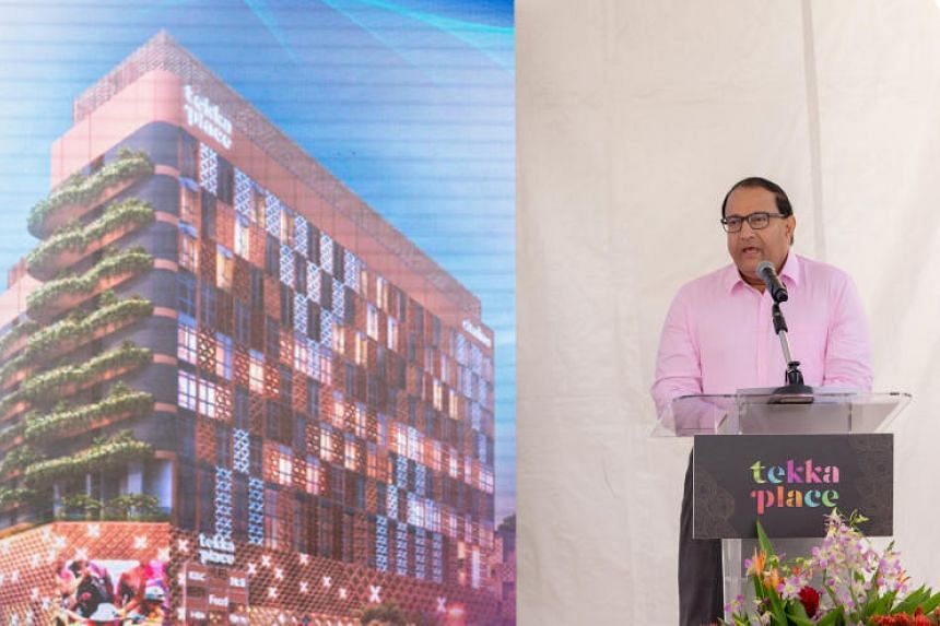 Mr S Iswaran, Minister for Communications and Information and Minister-in-charge of Trade Relations, speaks at the topping out ceremony of the upcoming Tekka Place on March 1, 2019.