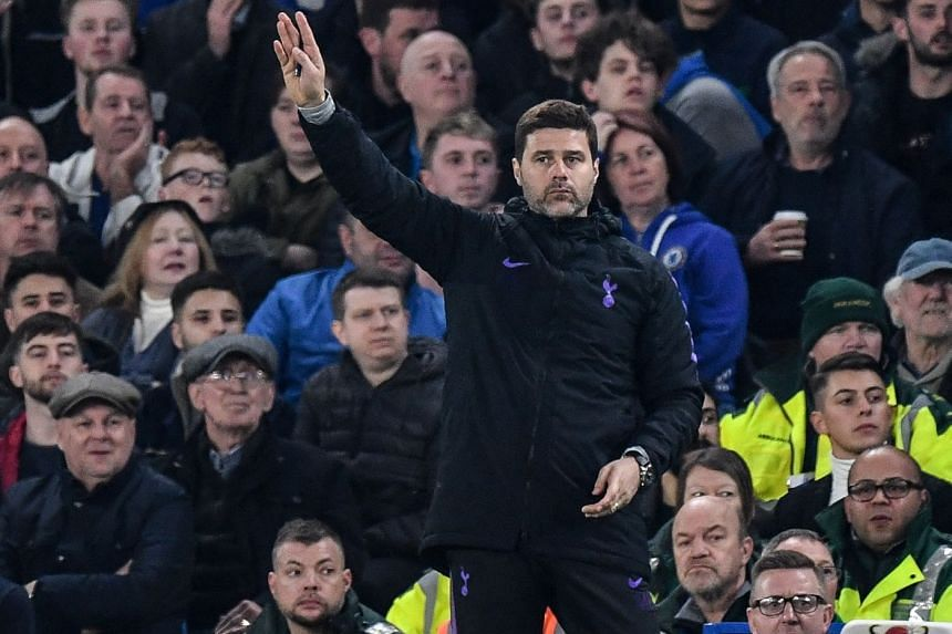 Tottenham Hotspur's manager Mauricio Pochettino reacts during their match against Chelsea.