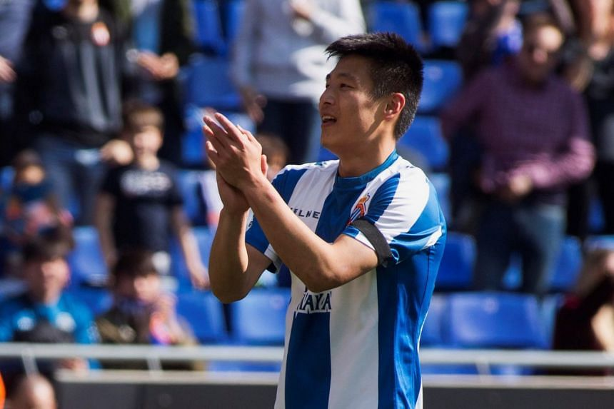 Espanyol's Chinese striker Wu Lei celebrates after scoring against Real Valladolid.