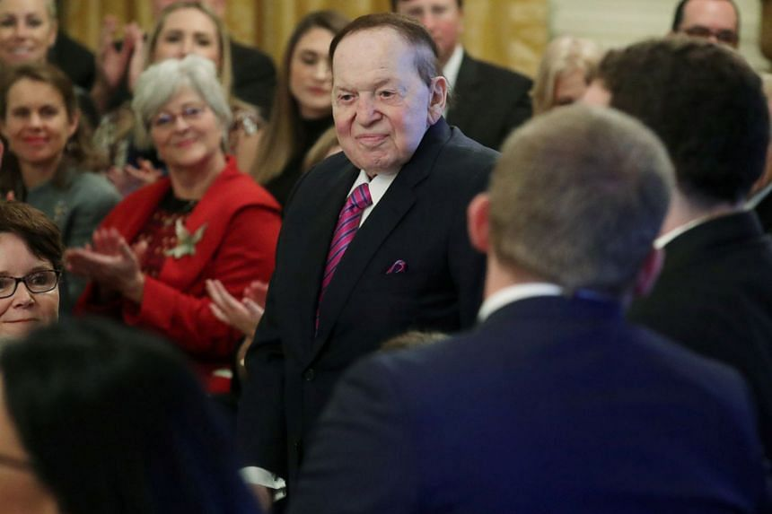 Sheldon Adelson (above, in November 2018) reportedly has not been at his company's offices in Las Vegas since around Christmas Day.