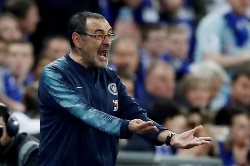 Chelsea manager Maurizio Sarri reacts after Kepa Arrizabalaga (not pictured) refuses to be substituted.