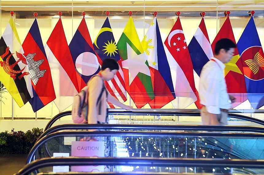 """Flags of Asean's 10 member countries and that of the regional grouping at the Asean Summit in Singapore in November last year. The grouping """"has always been a cornerstone of Singapore's foreign policy and for our engagement with the region and the re"""