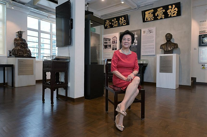 Dr Gan See Khem's niece, Ms Gan Guoyi, has been roped in to help out with the clan. Tung On Wui Kun (above) is among the clan houses in Bukit Pasoh Road which are part of Street of Clans in Singapore Design Week 2019. Tree Harp installations in Queen