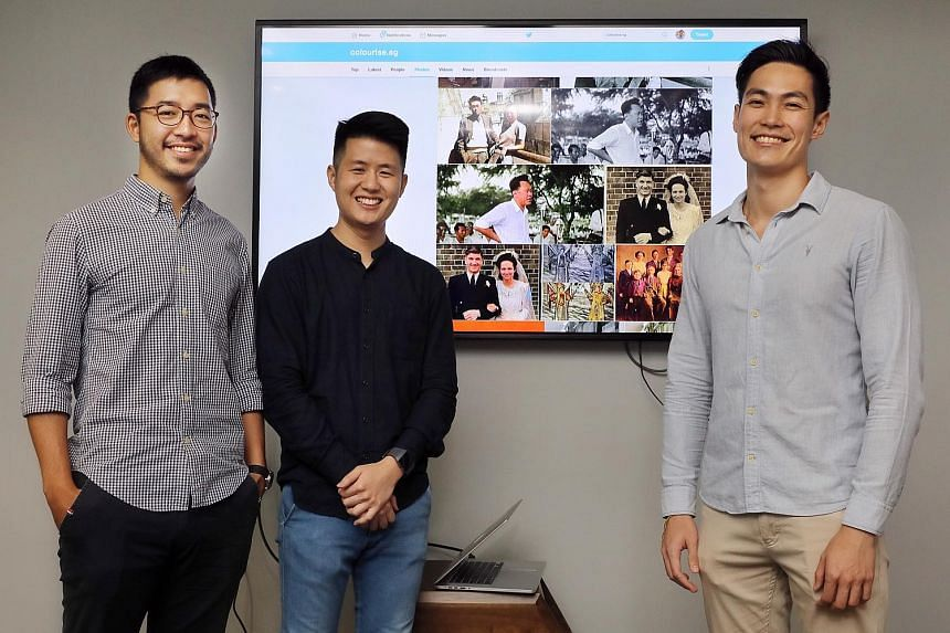 The GovTech team that developed Colourise.sg: (from left) Mr Andrew Tan, Mr Tan Kai Wei and Mr Preston Lim.