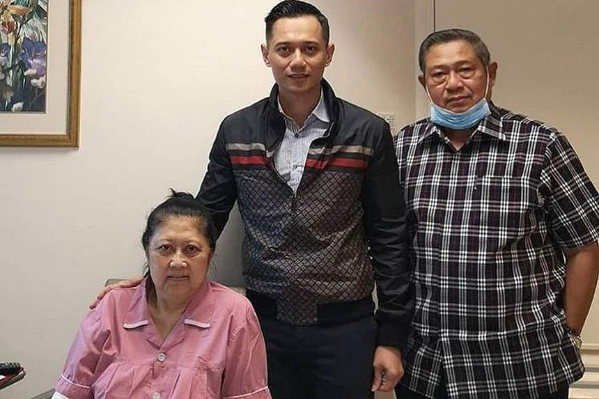Mr Agus Harimurti Yudhoyono in a photo with his parents. Former president Susilo Bambang Yudhoyono is in Singapore where his wife, Ms Ani Yudhoyono, is being treated for leukaemia.