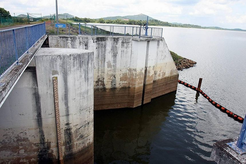 "A dam in Johor. Johor Menteri Besar Osman Sapian's comments about self-sufficiency in treated water come a day after Prime Minister Mahathir Mohamad urged Johoreans to speak up on the ""morally wrong"" water deal between Malaysia and Singapore."