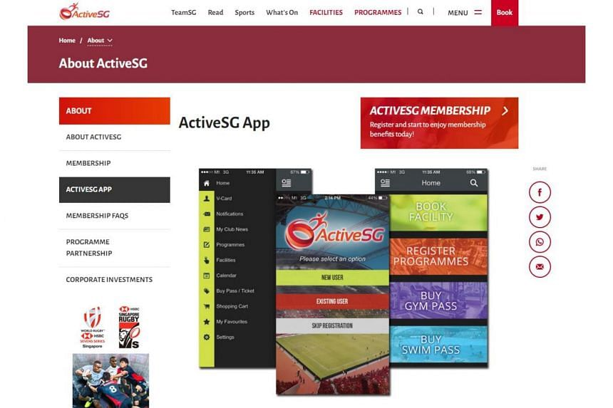 The ActiveSG app was launched in 2014 in line with the national movement for sport and members can use the app to sign up for programmes and book facilities.