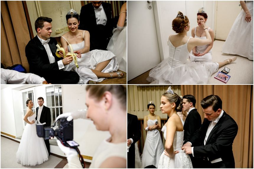 Debutantes (clockwise from top left) fuelling up with bananas, putting on final make-up touches, adjusting outfits and having their photos taken backstage before the opening ceremony of the Vienna Opera Ball on Feb 28, 2019.