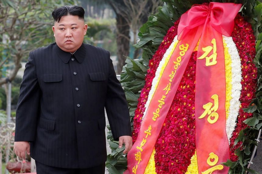 North Korean leader Kim Jong Un attends a wreath laying ceremony at Monument to War Heroes and Martyrs in Hanoi, Vietnam on March 2, 2019.