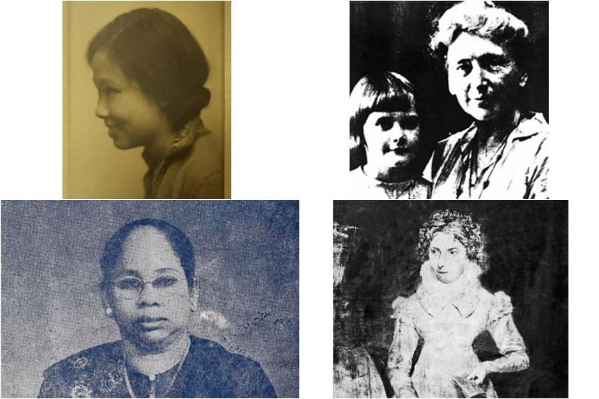 (Clockwise from top left) Maggie Lim nee Tan, first female winner of the Queen's Scholarship; Dr Charlotte Ferguson-Davie, who set up clinics for women and children; Maria Dyer, founder of Singapore's first girls' school; Che Zahara Noor Mohamed, fou