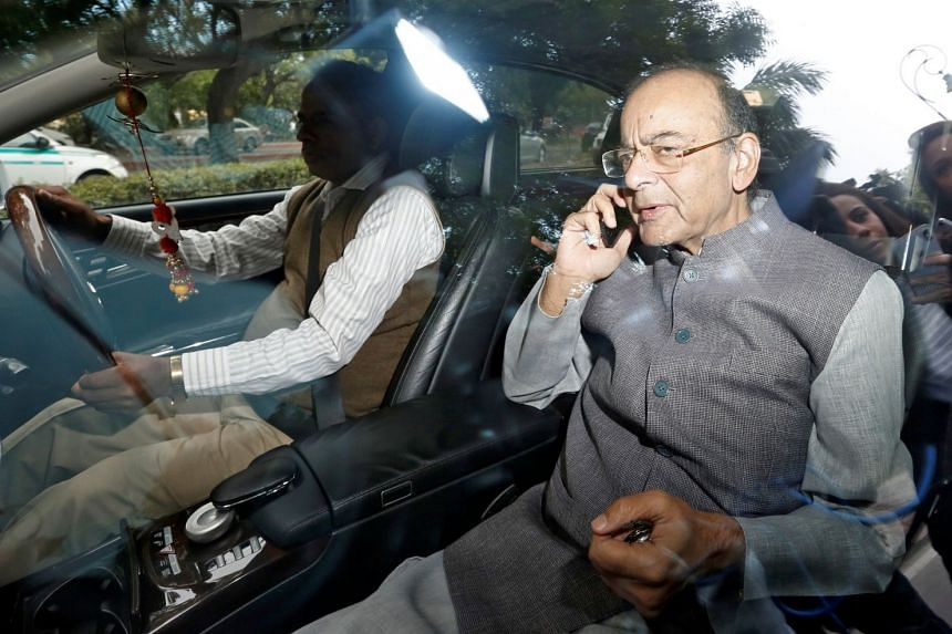 India's Finance Minister Arun Jaitley leaves after a Cabinet Committee on Security meeting in New Delhi.