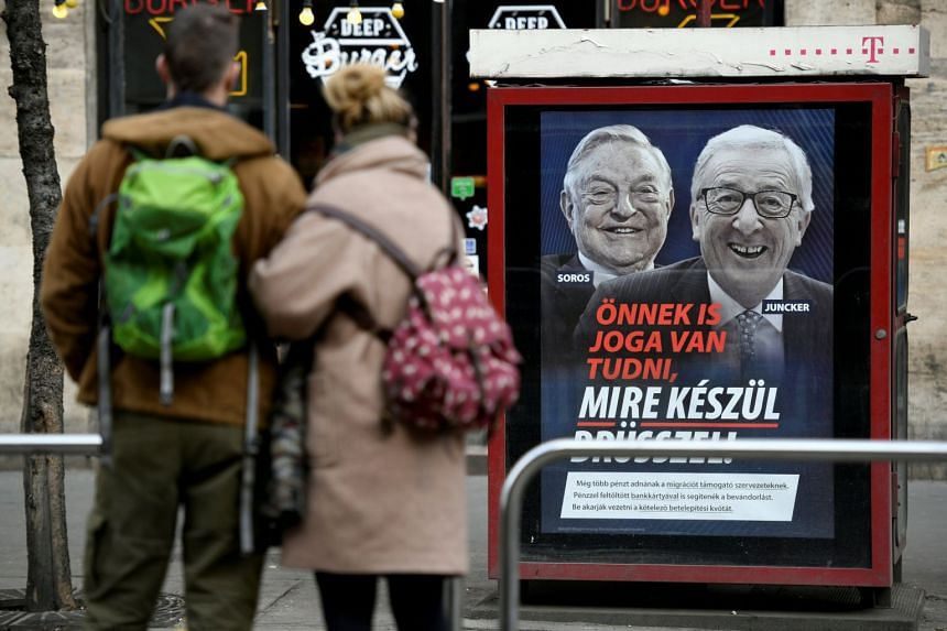 "A government poster in Budapest reads ""You also have the right to know what Brussels is up to"", accusing Jean-Claude Junckee of pushing migration plans encouraged by George Soros."
