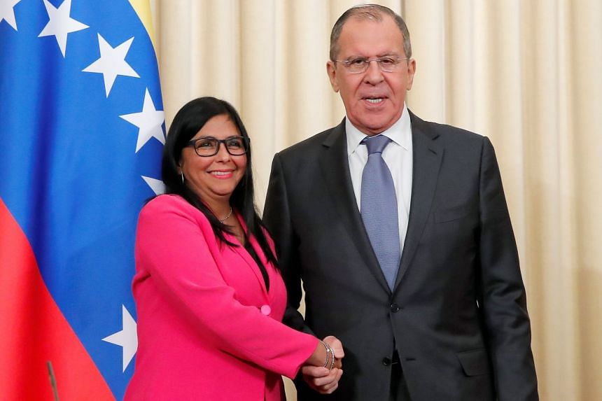 Lavrov (right) with Venezuela's Vice-President Delcy Rodriguez at a joint news conference in Moscow, March 1, 2019.