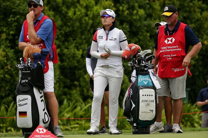 Lee Jeong Eun waiting to tee off on hole 9 during the HSBC Women's World Championship Round 2.