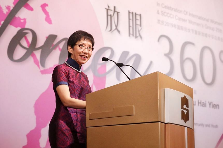 Minister for Culture, Community and Youth Grace Fu speaking at the Shangri-La Hotel on March 3, 2019.