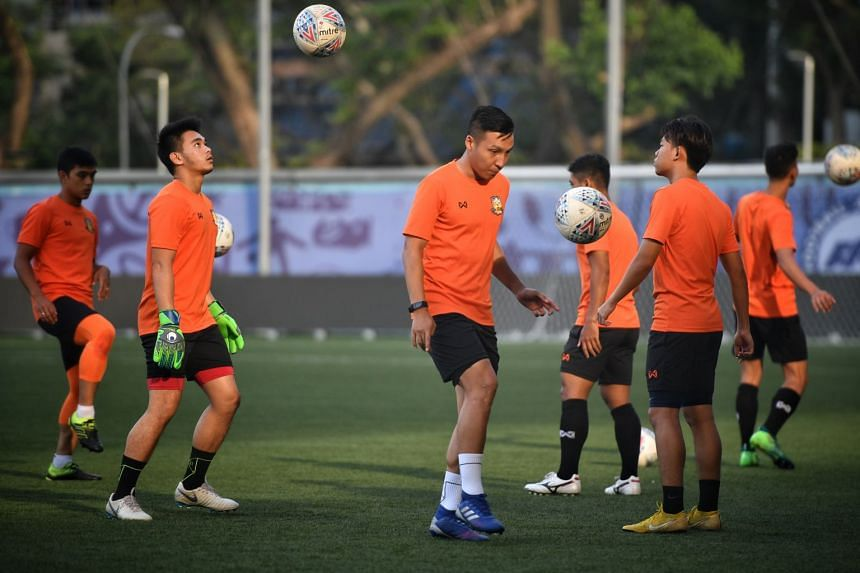 Hougang United at a training session ahead of their season opener against Tampines Rovers.