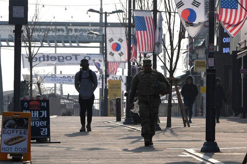 A soldier walking outside United States' Camp Humphreys in Pyeongtaek, Korea, on Feb 21, 2019.