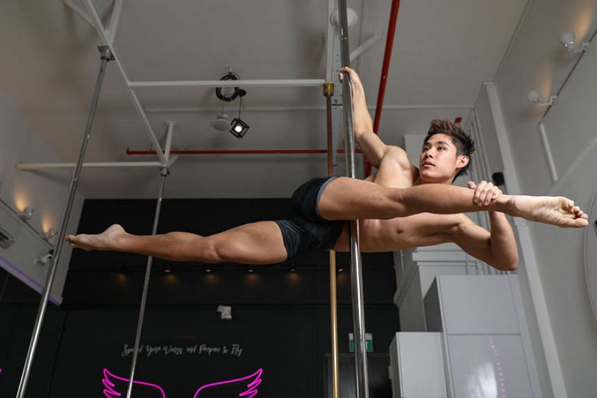 Louis Sue started pole-dancing in 2014 and had previously learnt modern dance in secondary school.