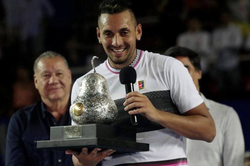 Nick Kyrgios celebrating after winning the Acapulco Open on March 2, 2019.