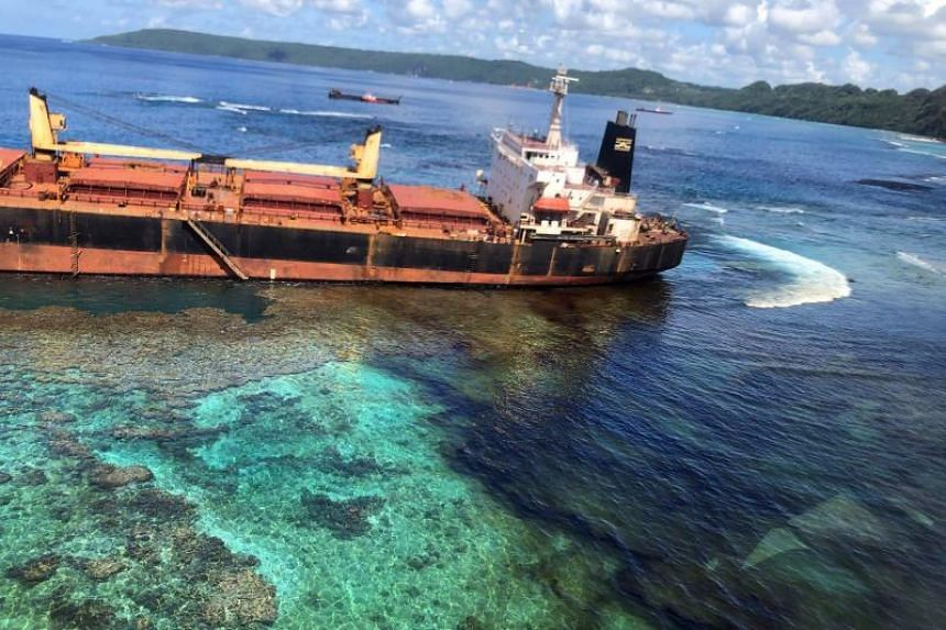 The oil spill from the MV Solomon Trader is seen along the coastline of Rennell Island, on March 1, 2019.