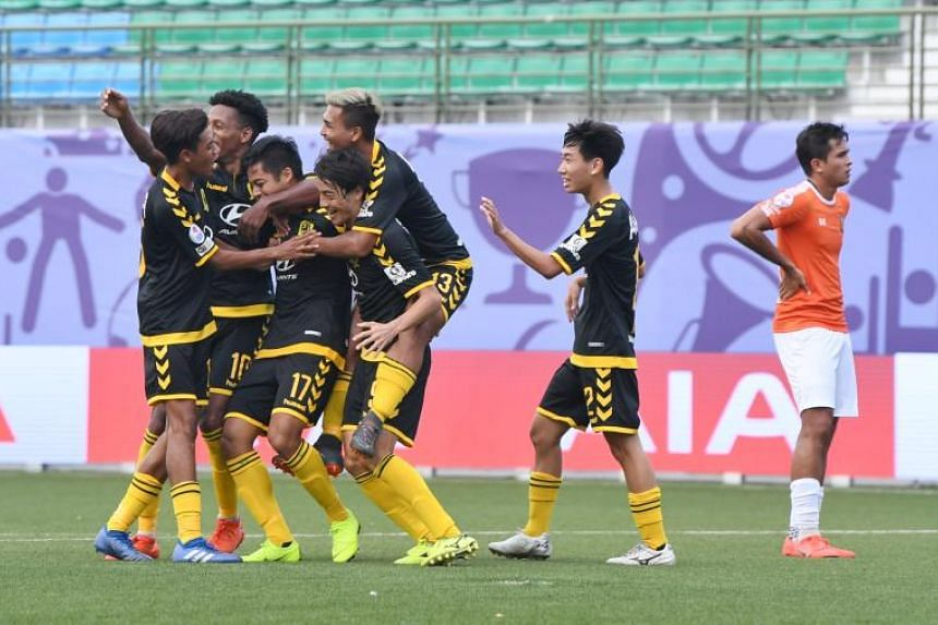 Tampines Rovers players celebrating after Irwan Shah (#17) scored during their match against Hougang United on March 3, 2019.