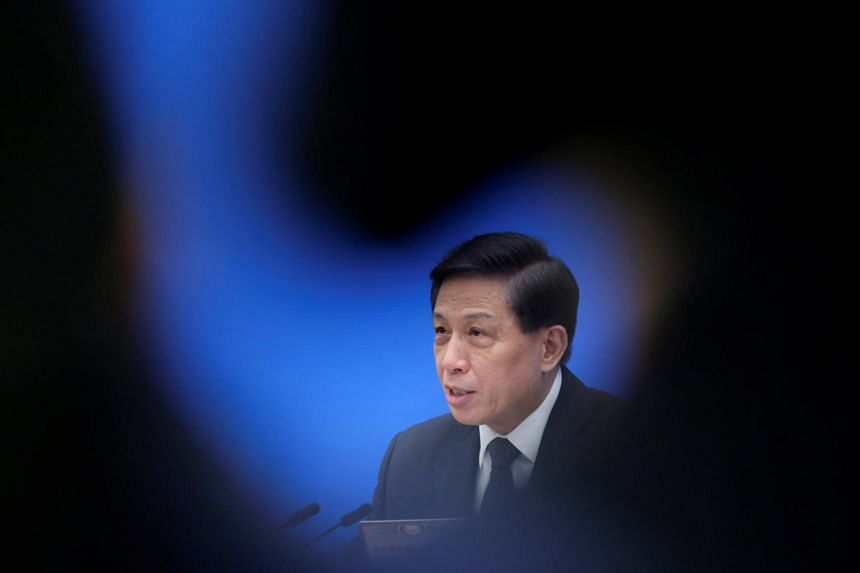 Zhang Yesui, a spokesman for the National People's Congress, speaks at a news confence ahead of China's annual session of parliament at the Great Hall of the People in Beijing, China on March 4, 2019.
