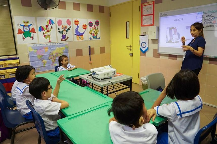 Mrs Janice Lim, one of the two specialised teachers at Mayflower Primary School, teaching sign language to a group of six children with hearing loss. Mayflower Primary uses sign language as the medium of teaching for pupils with hearing loss.