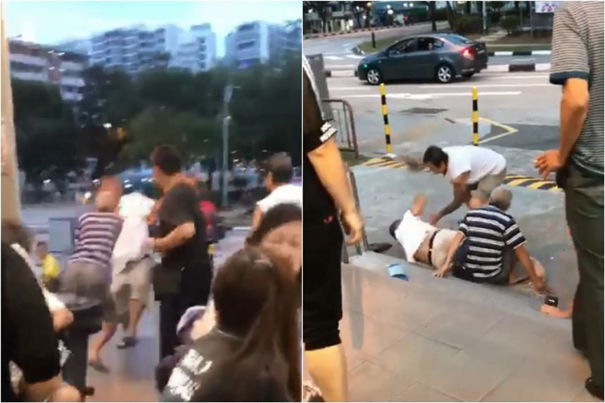 A video showed the men hitting and kicking one another, with some of them lying on the floor at one point.