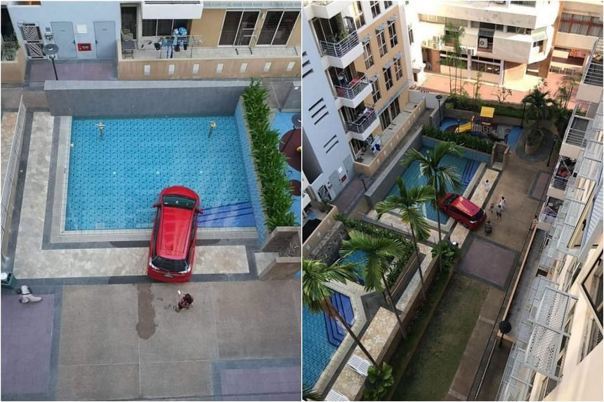 The red car could have driven over several metres of a grass patch and onto a pedestrian path before entering the swimming pool.