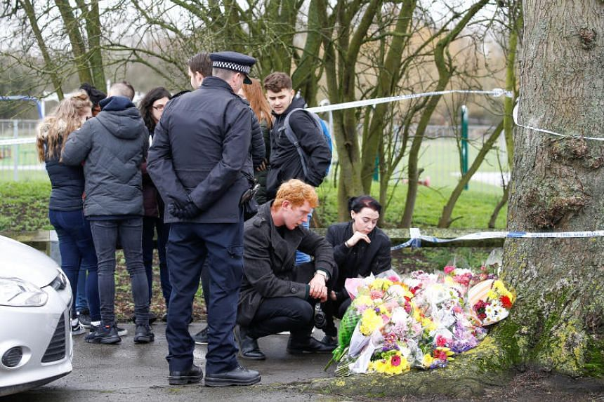 People visit the area near to where 17-year-old Jodie Chesney was killed, at the Saint Neots Play Park in Harold Hill, east London, Britain, on March 3, 2019.