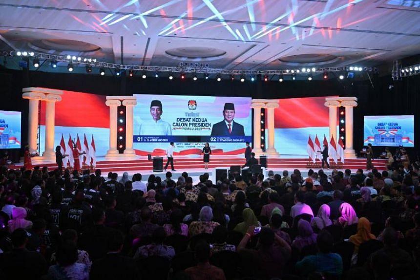 The second presidential debate between incumbent President Joko Widodo and retired army general Prabowo Subianto in Jakarta on Feb 17, 2019.
