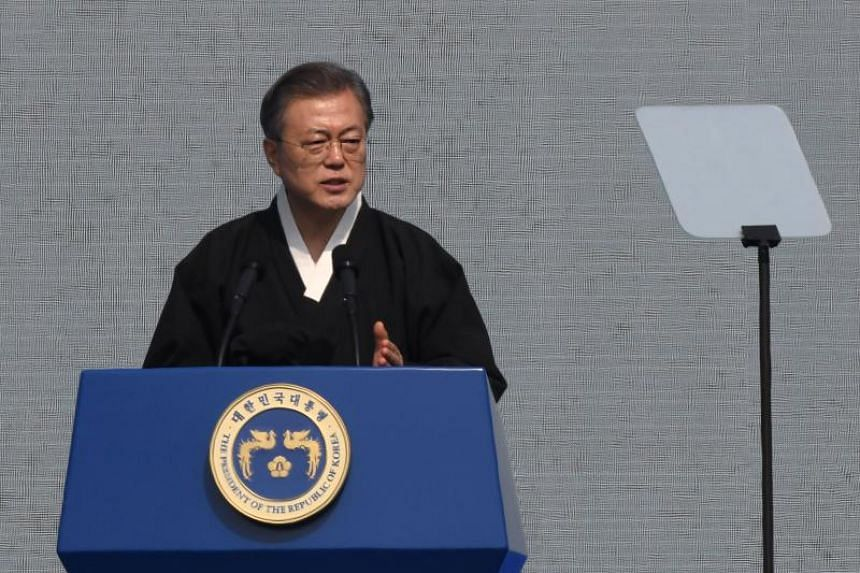 South Korea's President Moon Jae-in delivering a speech during a ceremony commemorating the 100th anniversary of the March First Independence Movement against Japanese colonial rule, in Seoul on March 1, 2019.